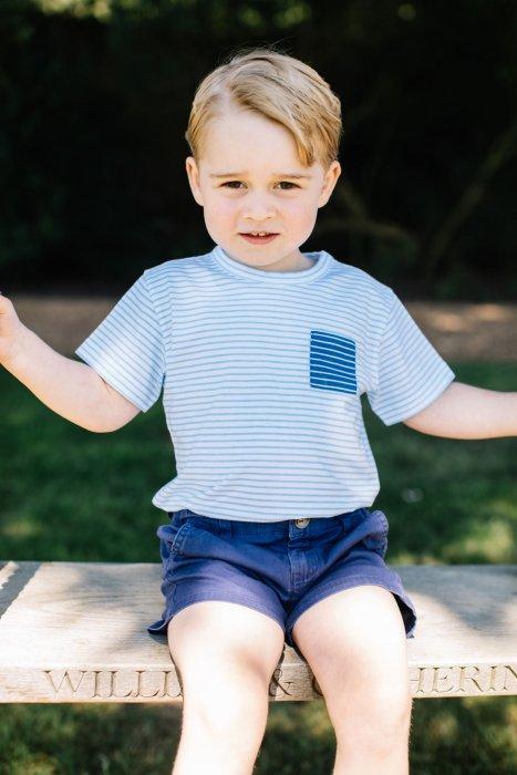Le prince George photographié sur une balançoire dans la propriété de la famille royale dans le Norfolk, en juillet 2016.
