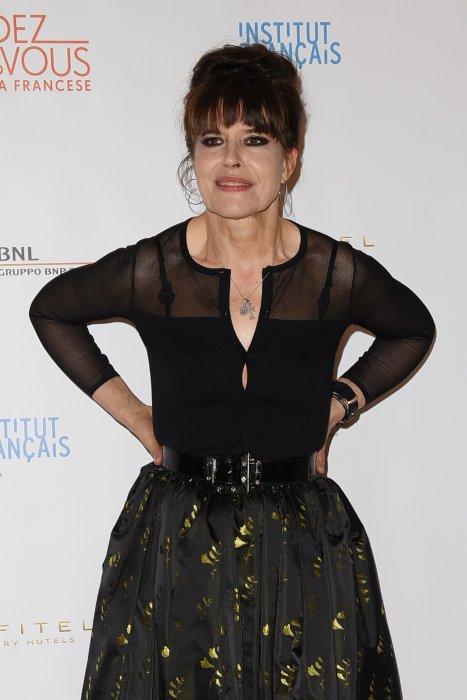 """Fanny Ardant en marge du Festival """"Rendez-vous - Le nouveau cinéma français"""" à Rome, le 8 avril 2015."""