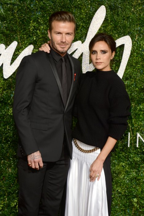 David Beckham et Victoria Beckham assistent aux British Fashion Awards à Londres, le 1er décembre 2014.