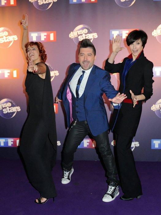 Fauve Hautot, Chris Marques et Marie-Claude Pietragalla lors du photocall de Danse Avec Les Stars à Paris, le 7 octobre 2015.