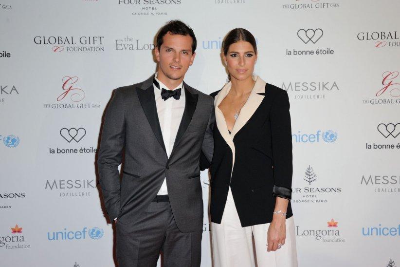 Laury Thilleman et Juan Arbelaez assistent au Global Gift Gala à Paris, le 09 mai 2016.