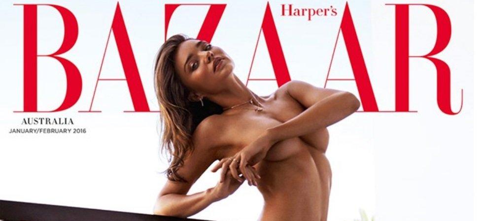 Miranda Kerr, entièrement nue en une de Harper's Bazaar Australia