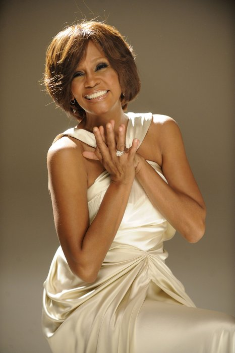 Whitney Houston sur le tournage du clip I Look To You à New York City, en août 2009.
