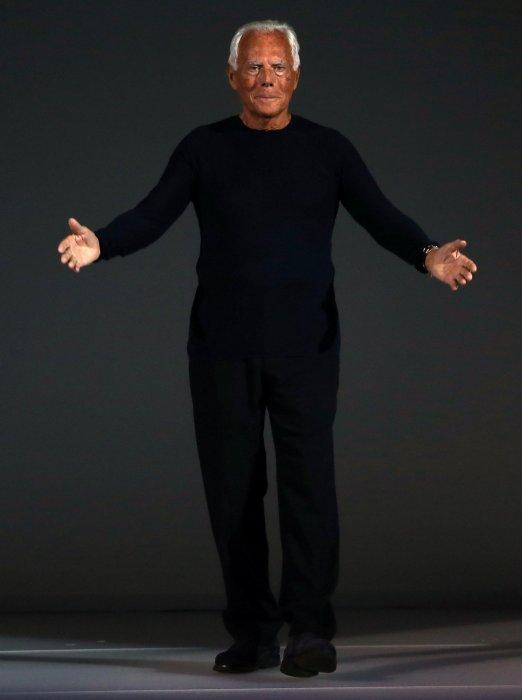 Giorgio Armani lors du défilé printemps-été 2015 à la Fashion Week de Milan.