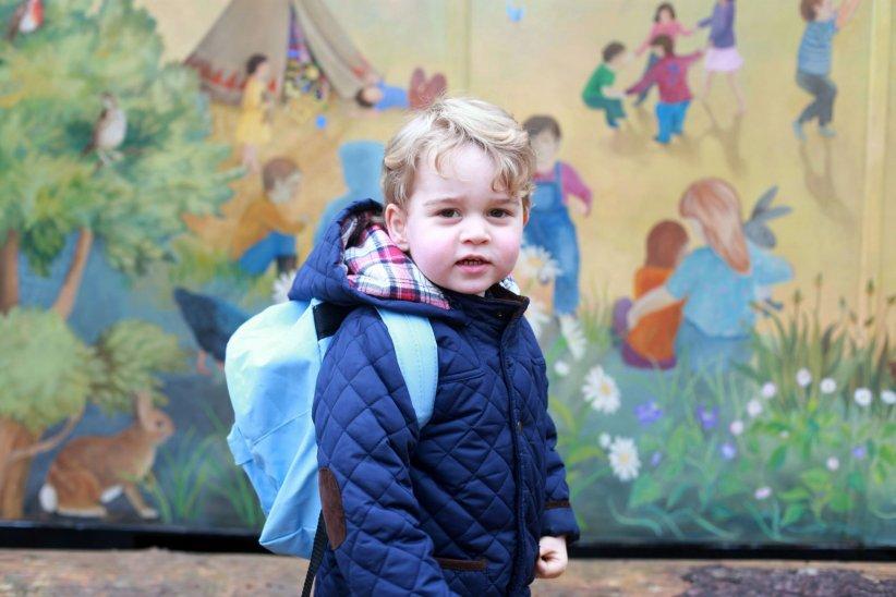 Le prince George, lors de son premier jour à la Westacre Montessori, le 6 janvier 2016.