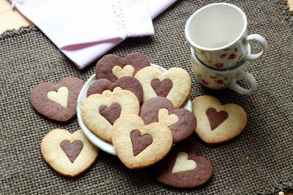 Sablés coeur chocolat vanille