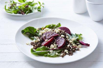 Salade de lentilles à la betterave et à la féta