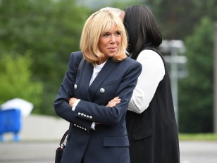 Brigitte Macron, supportrice de l'équipe de France de football