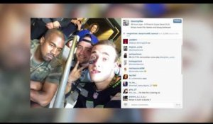 Kanye West a l'air misérable sur un selfie pris au Super Bowl