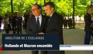 Hollande et Macron ensemble l'abolition de l'esclavage
