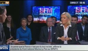 BFM Politique: L'interview de Marine Le Pen par Anna Cabana du Point - 24/11