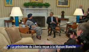 "Ebola: la présidente du Liberia salue le ""leadership"" d'Obama"