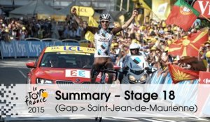 Summary - Stage 18 (Gap > Saint-Jean-de-Maurienne) - Tour de France 2015