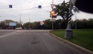 Motorcyclist Loses Control and Slams Violently