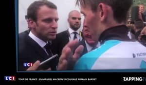 Emmanuel Macron encourage Romain Bardet au Tour de France (vidéo)