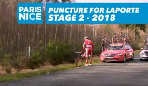 Puncture for Laporte - Étape 2 / Stage 2 - Paris-Nice 2018
