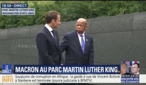 Emmanuel Macron visite le Parc Martin Luther King à Washington