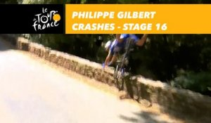 Chute de Philippe Gilbert / Crashes for Philippe Gilbert - Étape 16 / Stage 16 - Tour de France 2018
