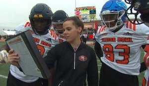 Katie Sowers coaches up players at Reese's Senior Bowl