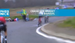 Paris-Nice 2020 - Étape 1 / Stage 1 - Chute pour Bardet & Barguil / Crash for Bardet & Barguil