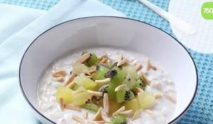 Overnight oats ou porridge sans cuisson au kiwi