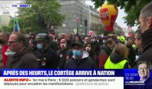 Manifestation du 1er mai: le cortège arrive sur la place de la Nation à Paris