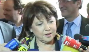 Interview de Martine Aubry au meeting de François Hollande à Lille