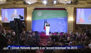 "Climat: Hollande appelle à un ""accord historique"" fin 2015"