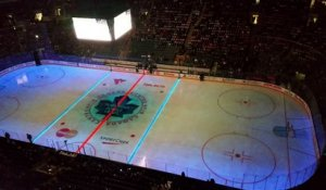 Projection sur une patinoire au hockey