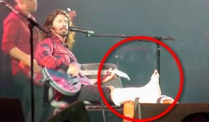 IMPRESIVE!! Dave Grohl performing a solo with a broken leg!
