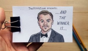 Flipbook Animation of Leonardo DiCaprio winning the 2016 Oscar for Best Actor