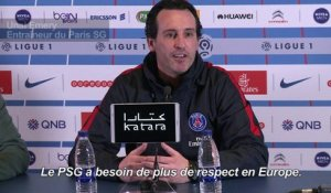 "Emery: ""le PSG a besoin de plus de respect en Europe"""