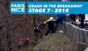 Chute à l'avant / Crash in the breakaway - Étape 7 / Stage 7 - Paris-Nice 2018