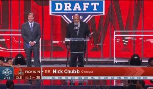 Jim Brown announces the Browns select Nick Chubb No. 35 in the NFL Draft