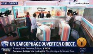 Un sarcophage ouvert en direct