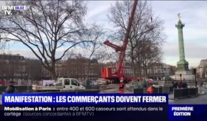 Manifestation à Paris: l'inquiétude des commerçants de la place de la Bastille