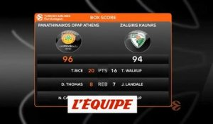 Le Panathinaïkos s'en sort in extremis face à Kaunas - Basket - Euroligue