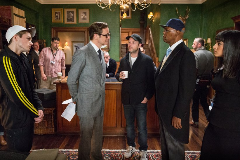 Kingsman : Services secrets : Photo Colin Firth, Matthew Vaughn, Samuel L. Jackson, Sofia Boutella, Taron Egerton