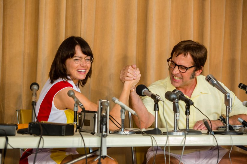 "Bobby Riggs et Billie Jean King dans ""Battle of the Sexes"""