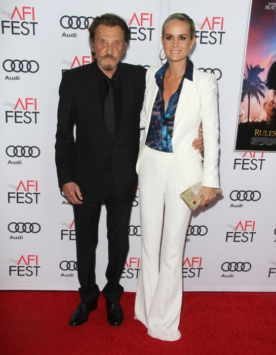 "Johnny et Laeticia Hallyday à la première de ""Rules Don't Apply"" à Los Angeles, le 10 novembre 2016."