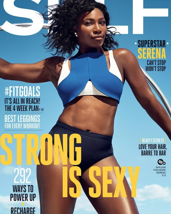 Serena Williams en une du numéro de septembre 2016 du magazine Self.