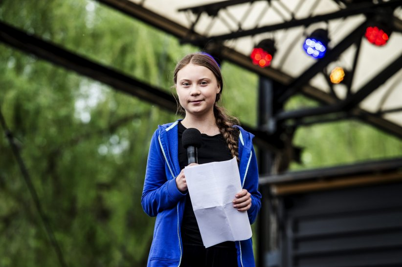 "Greta Thunberg participe au mouvement ""Global Strike For Future"" à Stockholm, le 24 mai 2019."