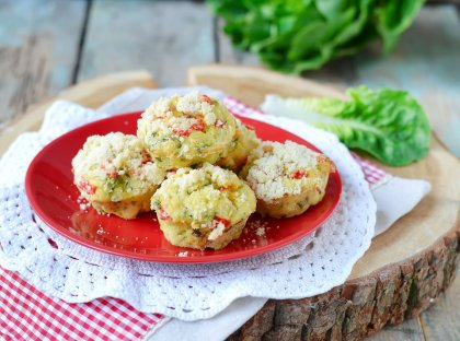 Muffins fromage, poivron et courgette